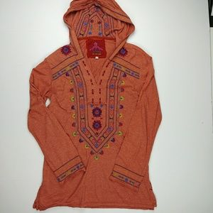 Johnny Was Embroidered Long Sleeve Hooded Top
